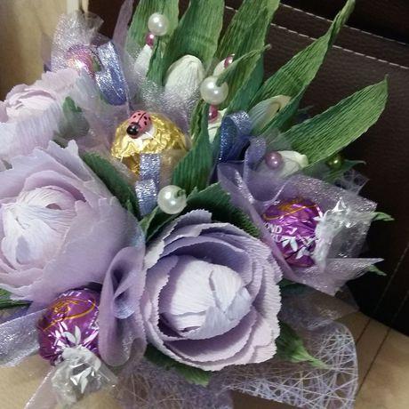 пион букетизконфет сладкийбукет фиолетовый оригинальный букет подарок