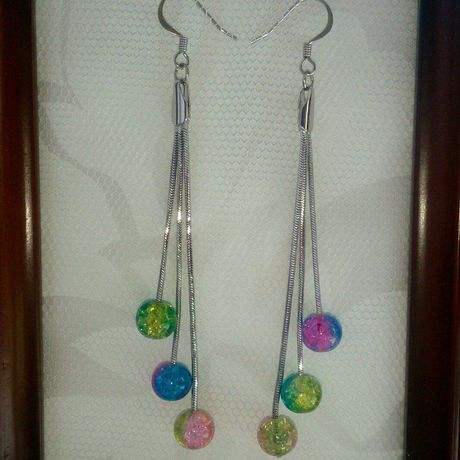 серьги кракле стеклянныебусины ручнаяработа колье подарок гиппоалергенные цепочки разноцветноестекло