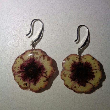 сухоцвет серьги эпоксидная бижутерия сережки украшения смола цветы