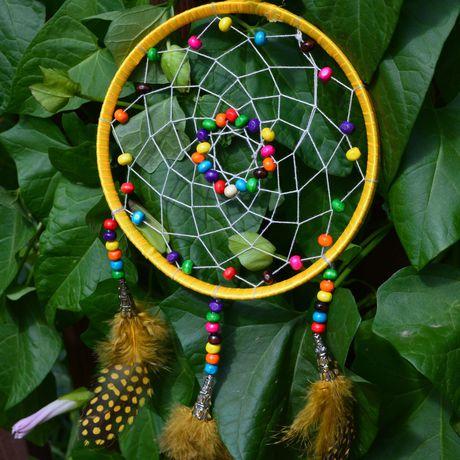 украшение handmade разноцветный длядома желтый перья снов ловец