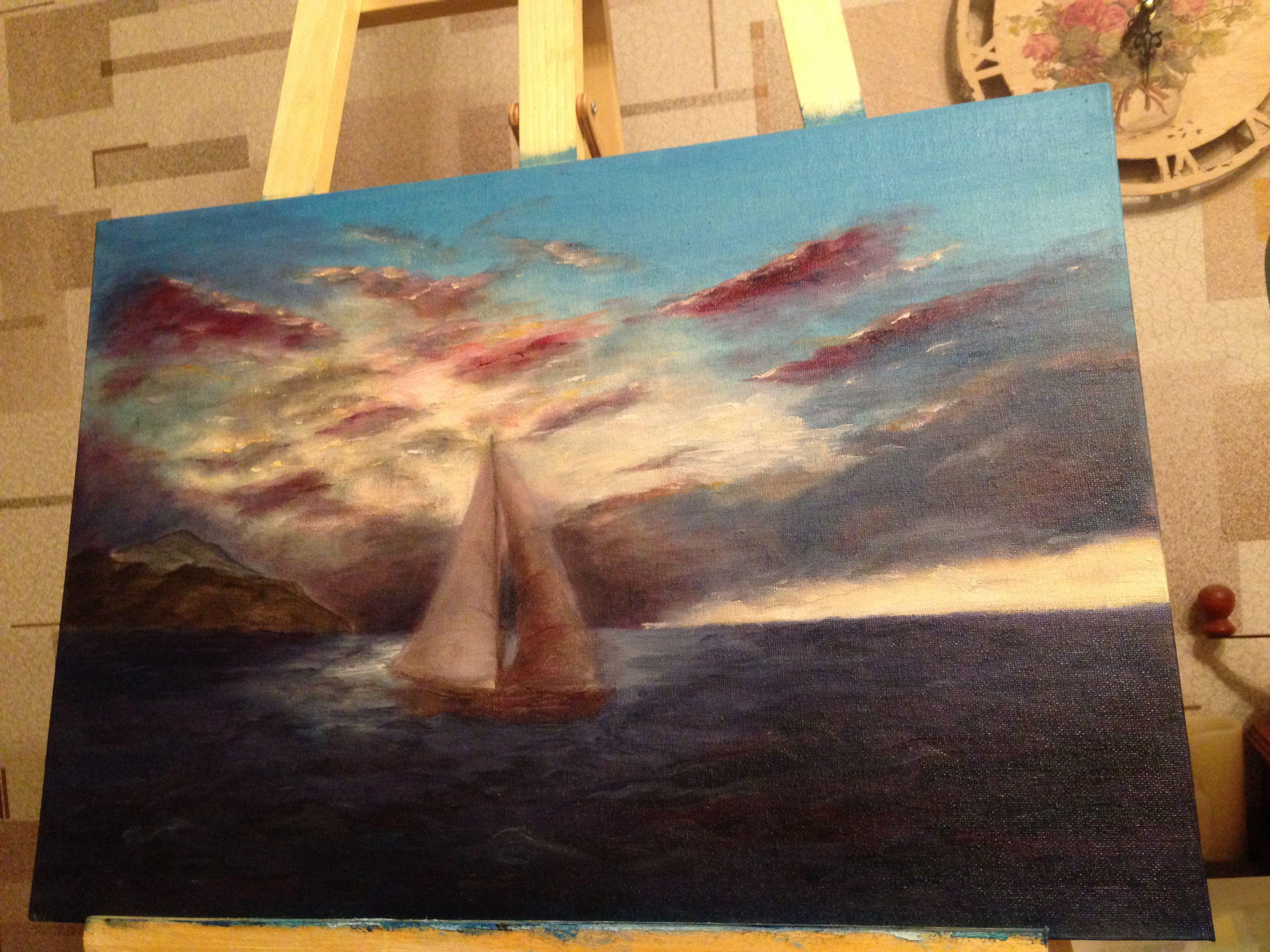 небо парус картина свет облака корабль интерьер живопись море  пейзаж арт