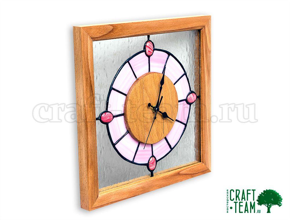 витраж тиффани деревянные часы настенные
