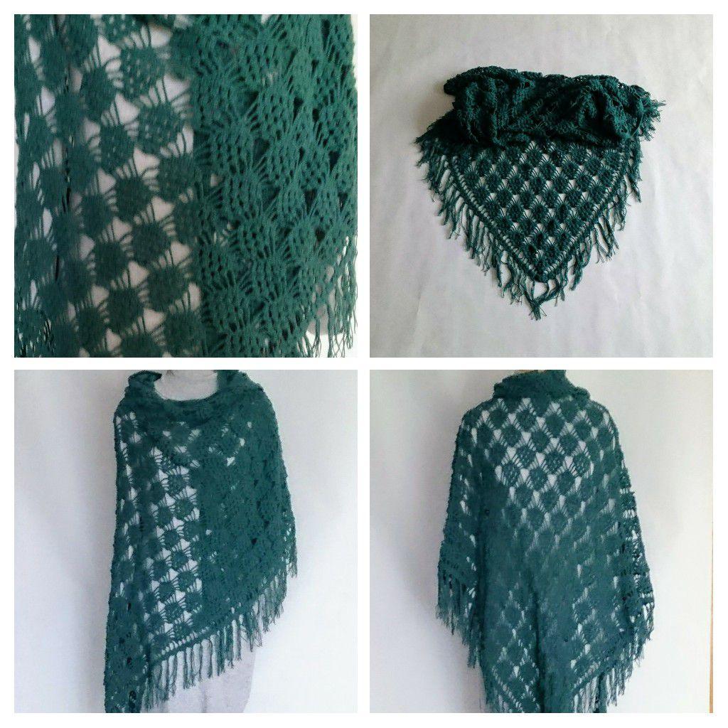 крючком шаль handmade малахит купить подарок женская хлопок