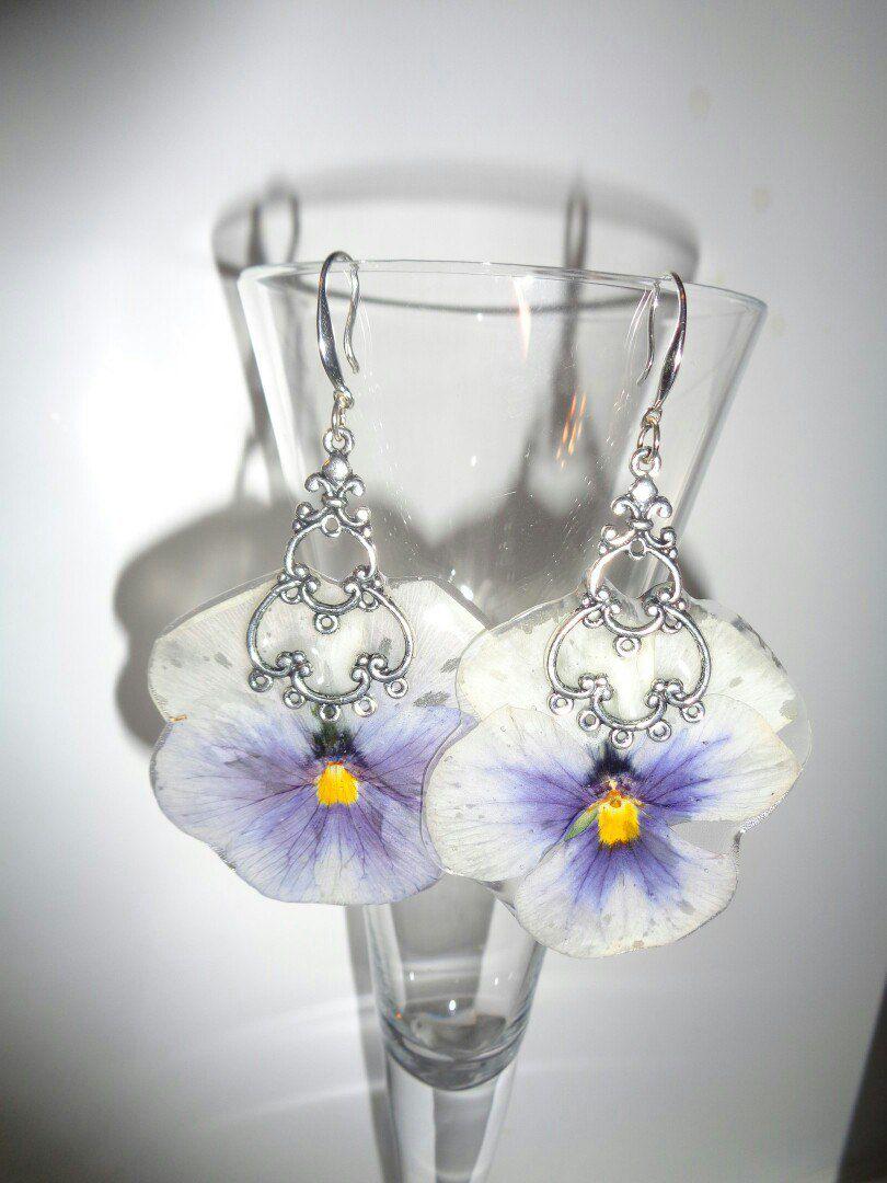 эпоксидная серьги анютины смола цветок сережки глазки сухоцвет украшения бижутерия