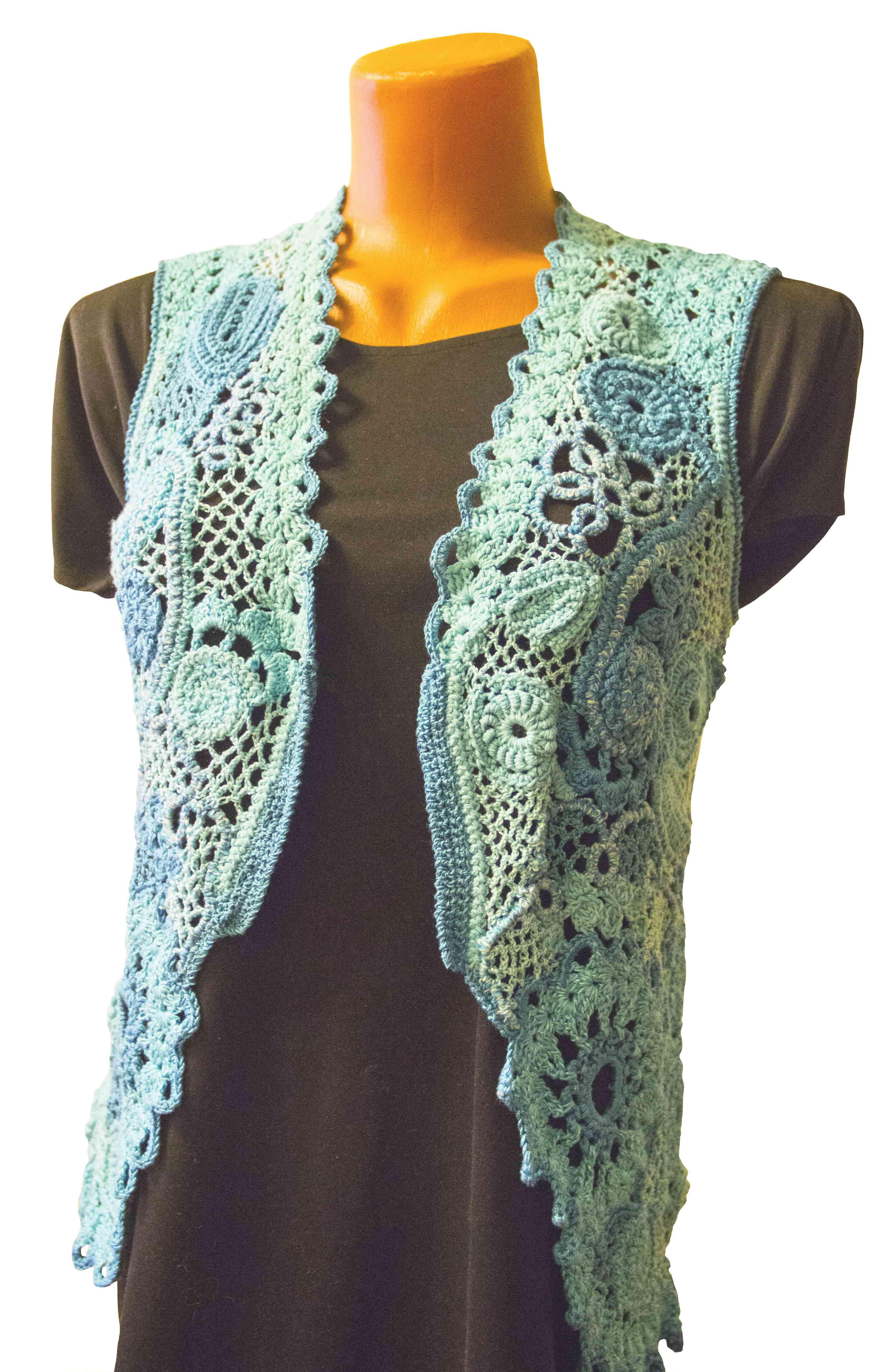 бирюзовый жилет-женский жилет-вязаный цветочный авторская-ручная-работа авторский-дизайн