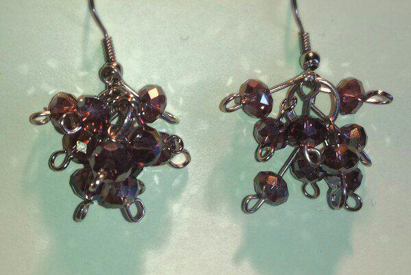 серьги handmade бусины букетвинограда