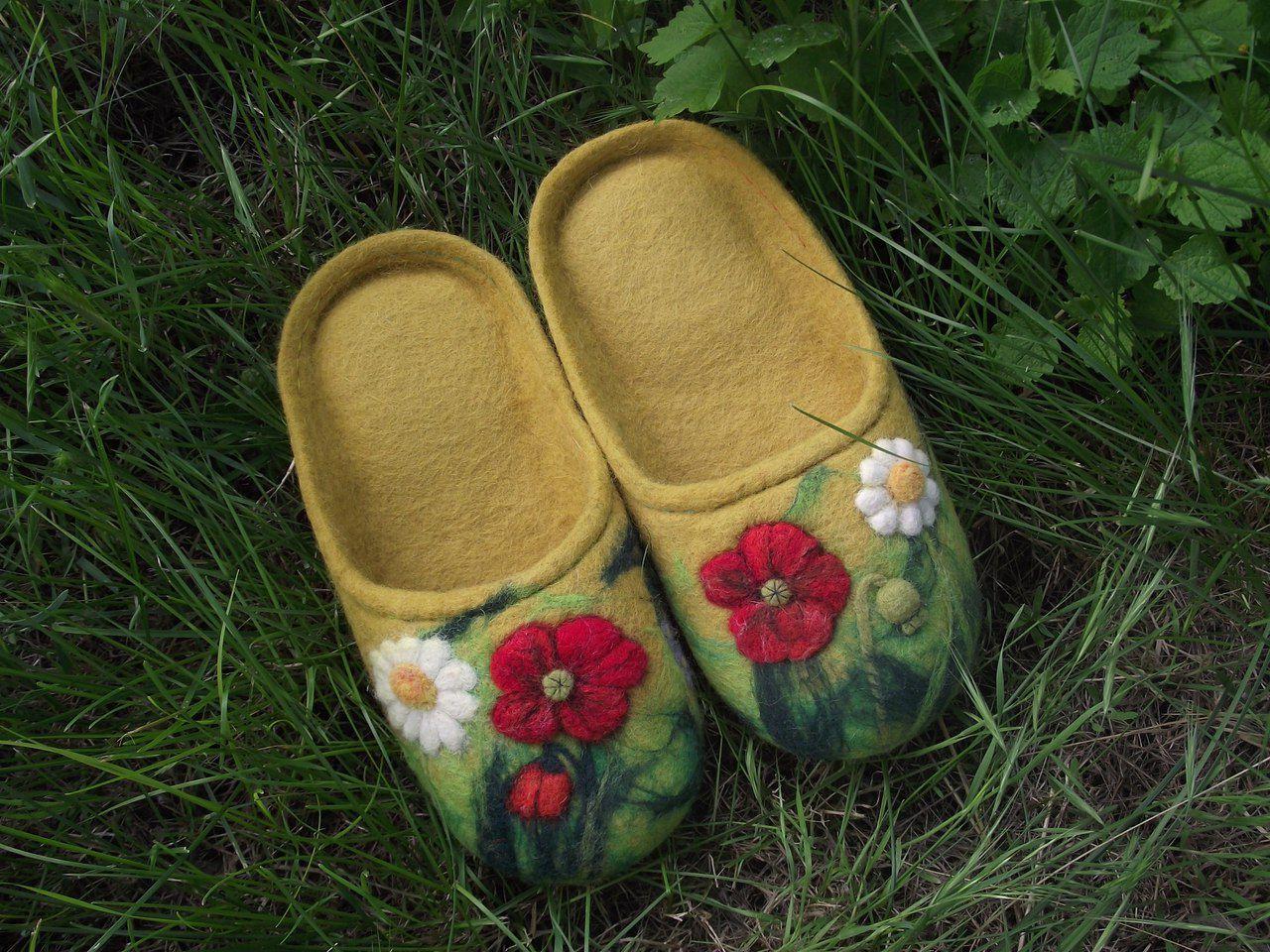 тапочки эко валяная тепло шерсть обувь