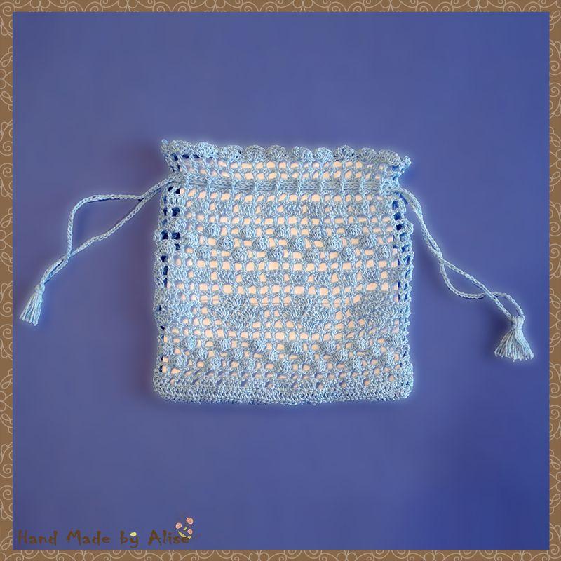 мешочек 100 техника филейная подарочный хлопок вязание крючком голубой