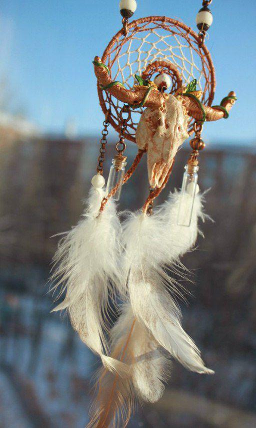 ручнаяработа перья fimo этно череп украшение твойстиль шаман handmade skull подарок