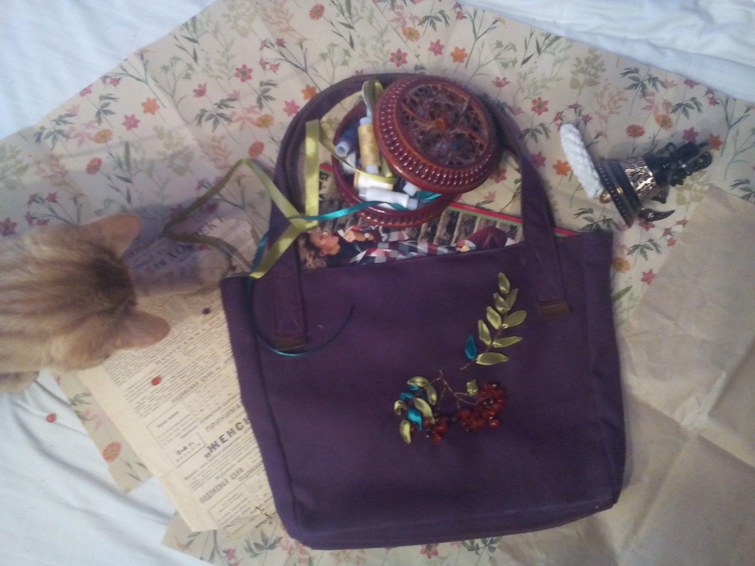 ручнаяработа подарок осень ленты вышивка сумка рябина сумочка