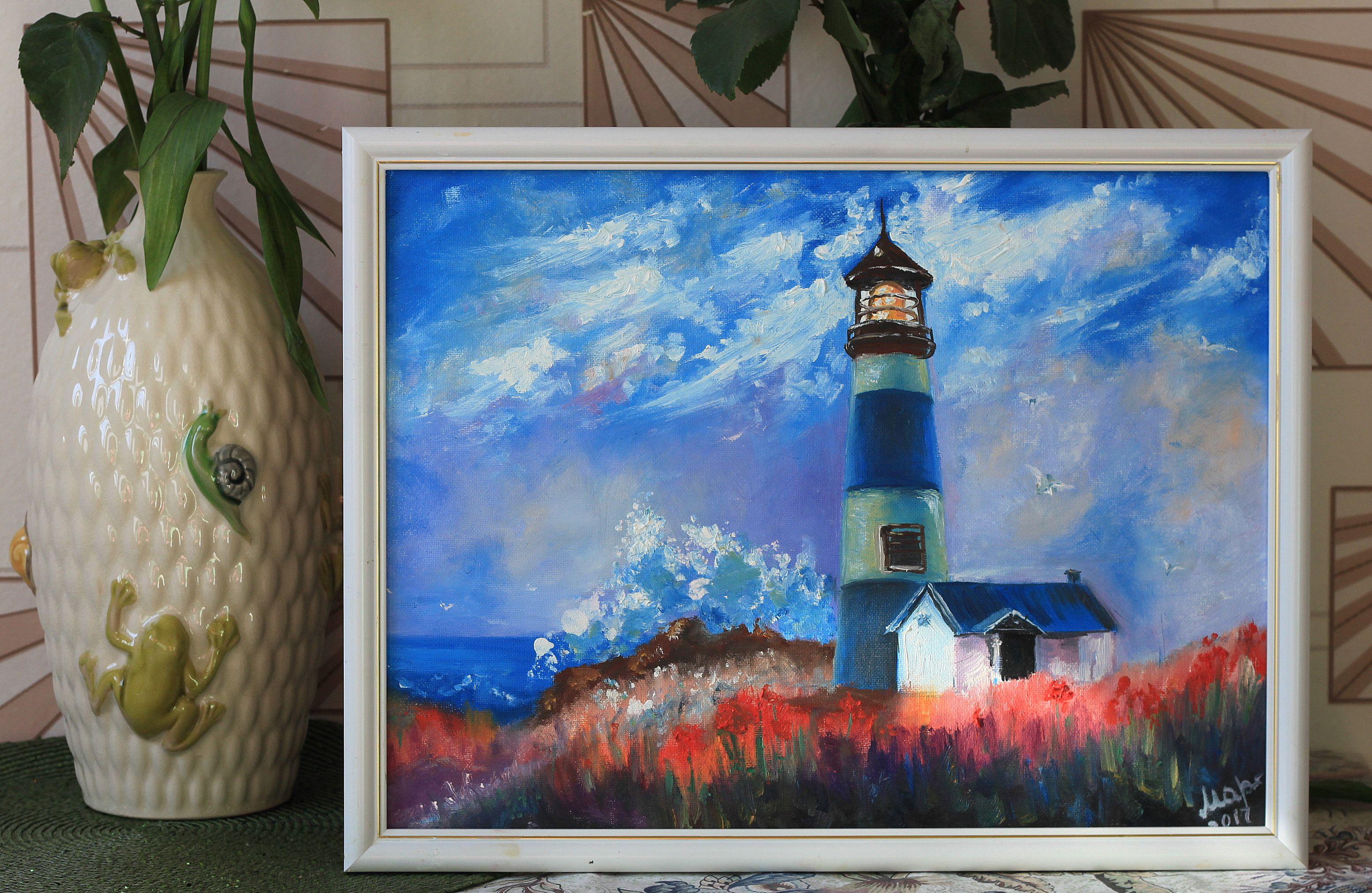 небо море картина масло маяк цветы