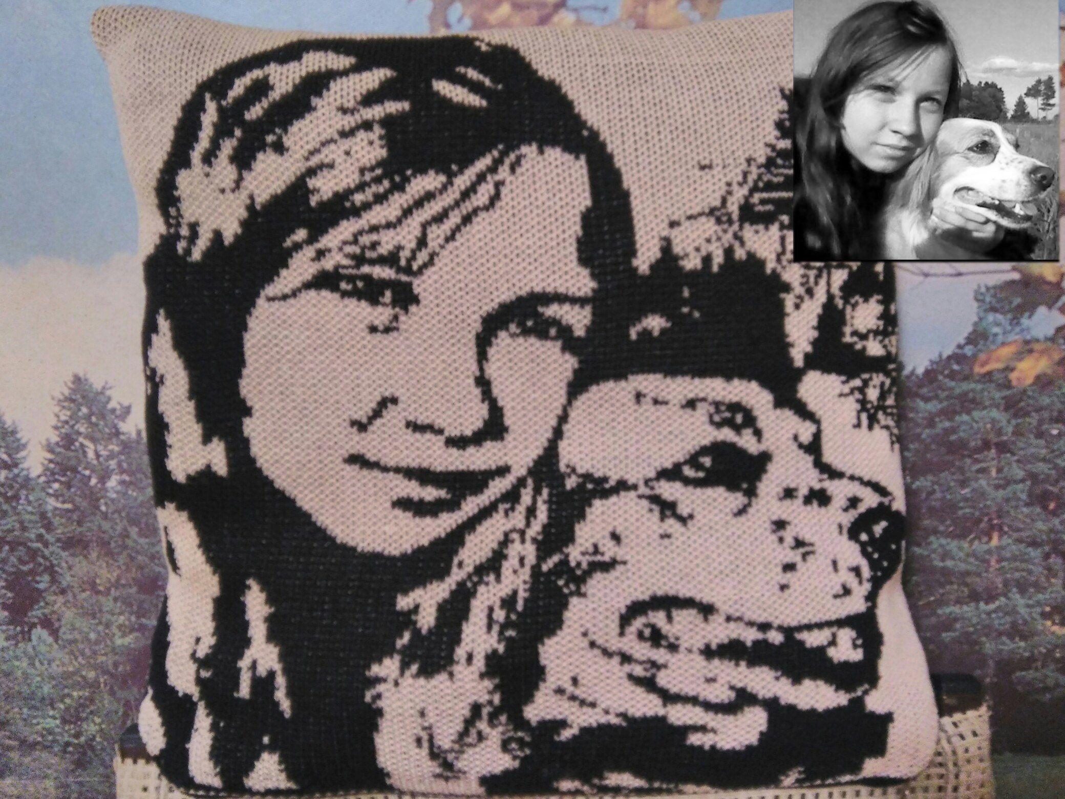 оригинальный портрет душевный мужчин детей невесты жениха изделия для эксклюзивный женщин вязание панно подарок подушка вязаные интерьерная