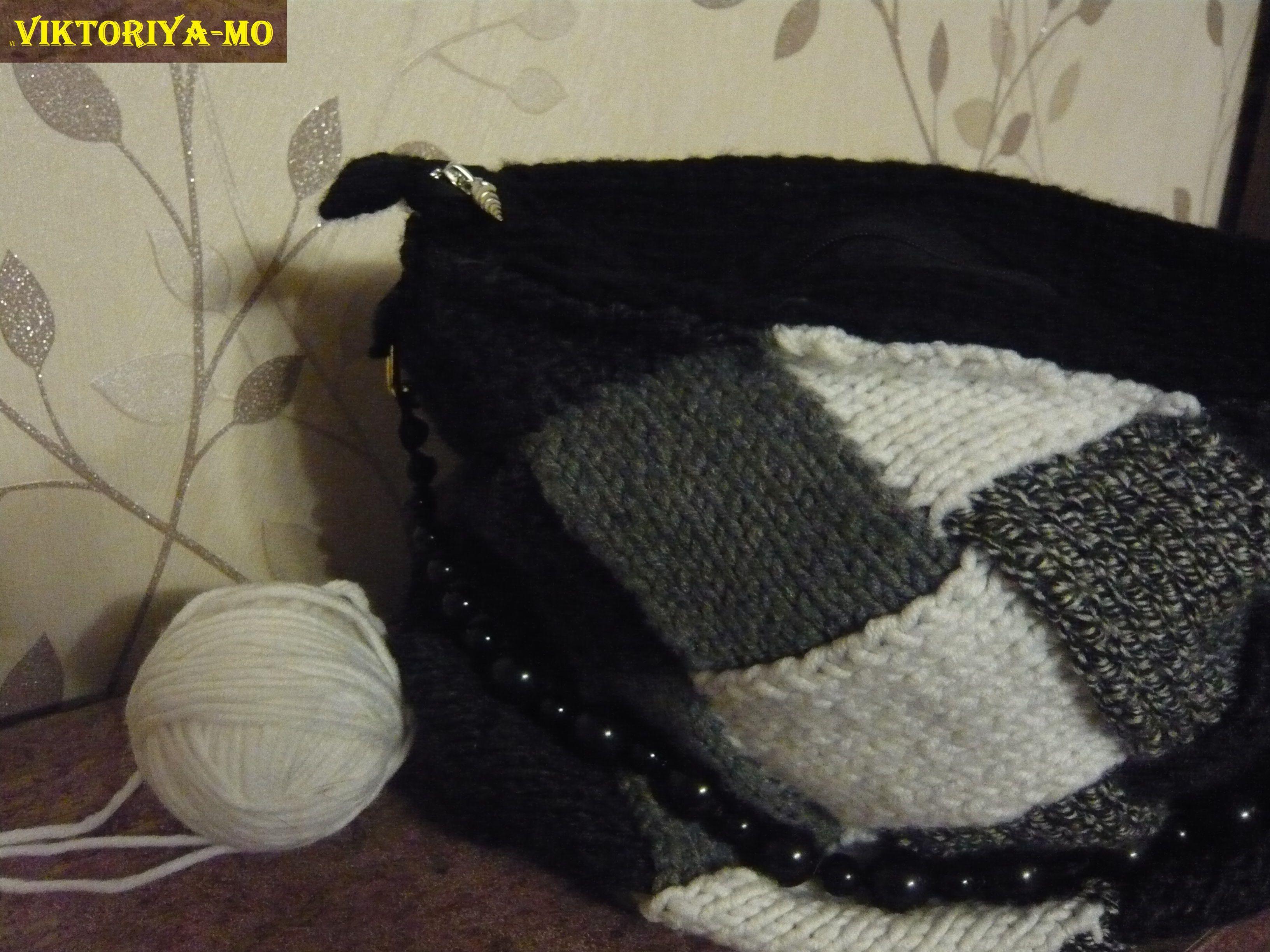 аксессуар вязание черная сумка необычно спицами своимируками спицы