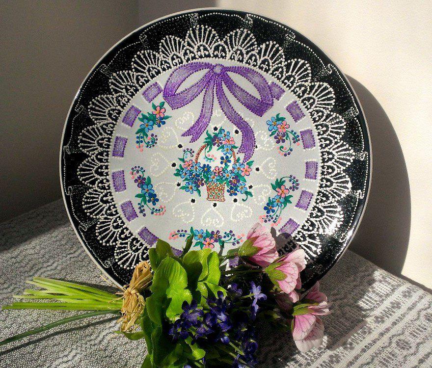 ручнаяработа кружево незабудки декоративнаятарелка декор точечнаяроспись тарелка handmade пасха подарок
