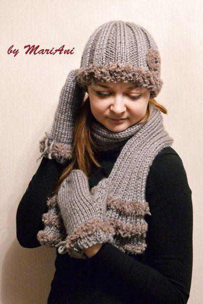шапка ручная вязание работа шарф варежки