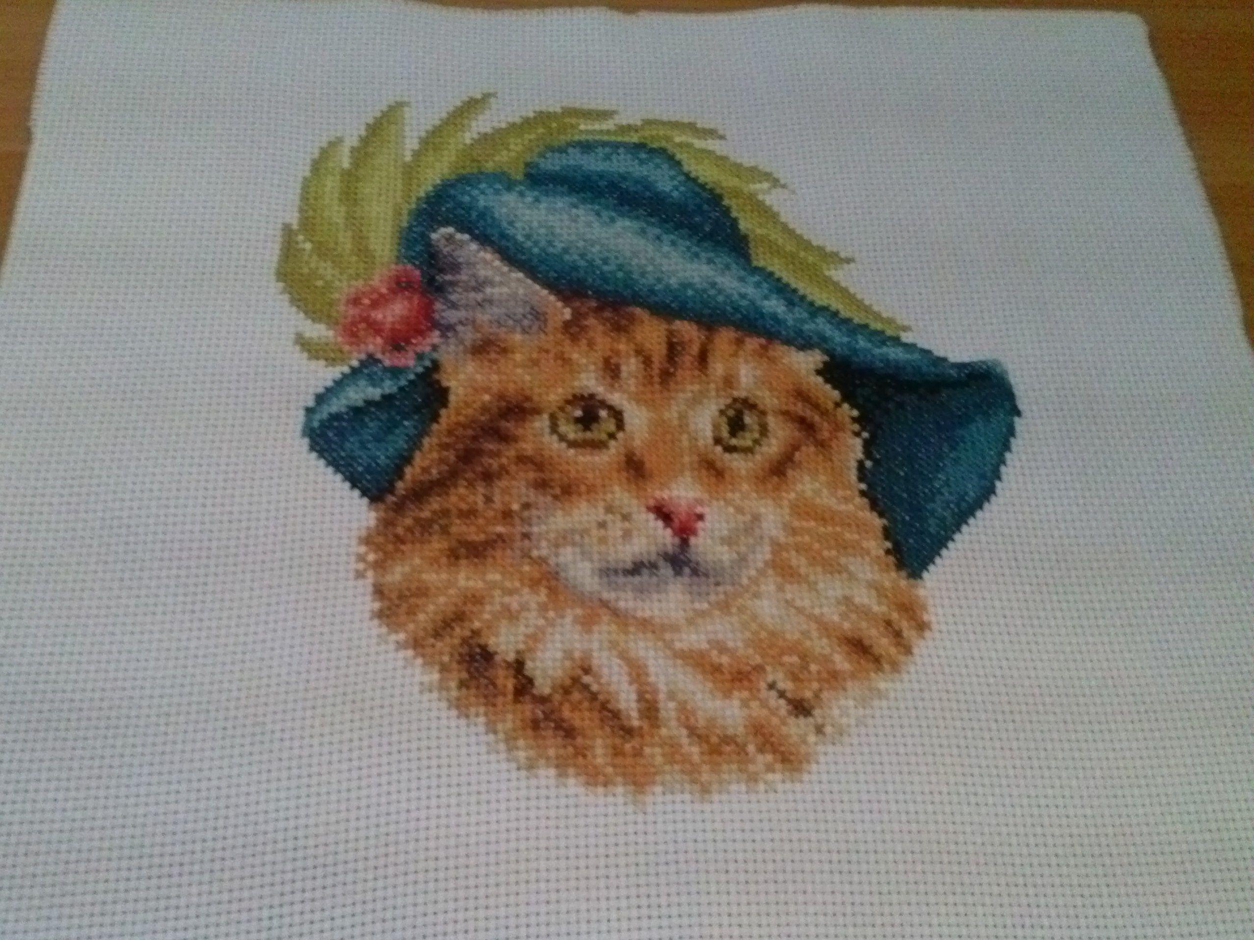 вышивка кот картина крестики