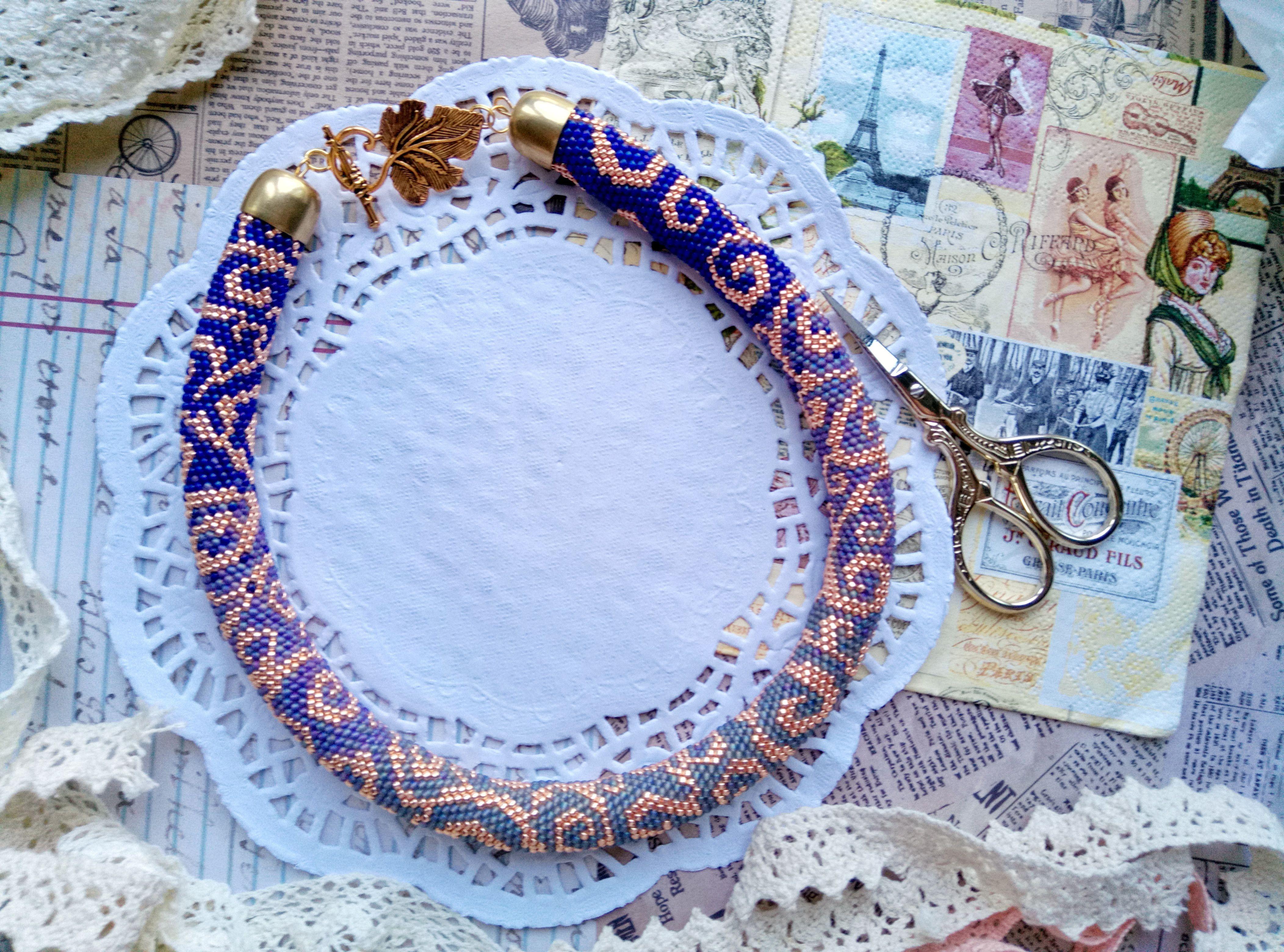 фиолетовый япония колье украшение сиреневый чокер завитки бисер бусы золото ожерелье