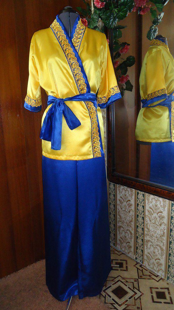 синий кружево домашний костюм для желтый одежда