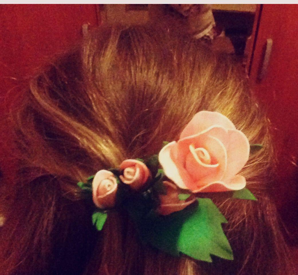 украшениедляволос заколка фоамиран заколкадляволос розы цветы