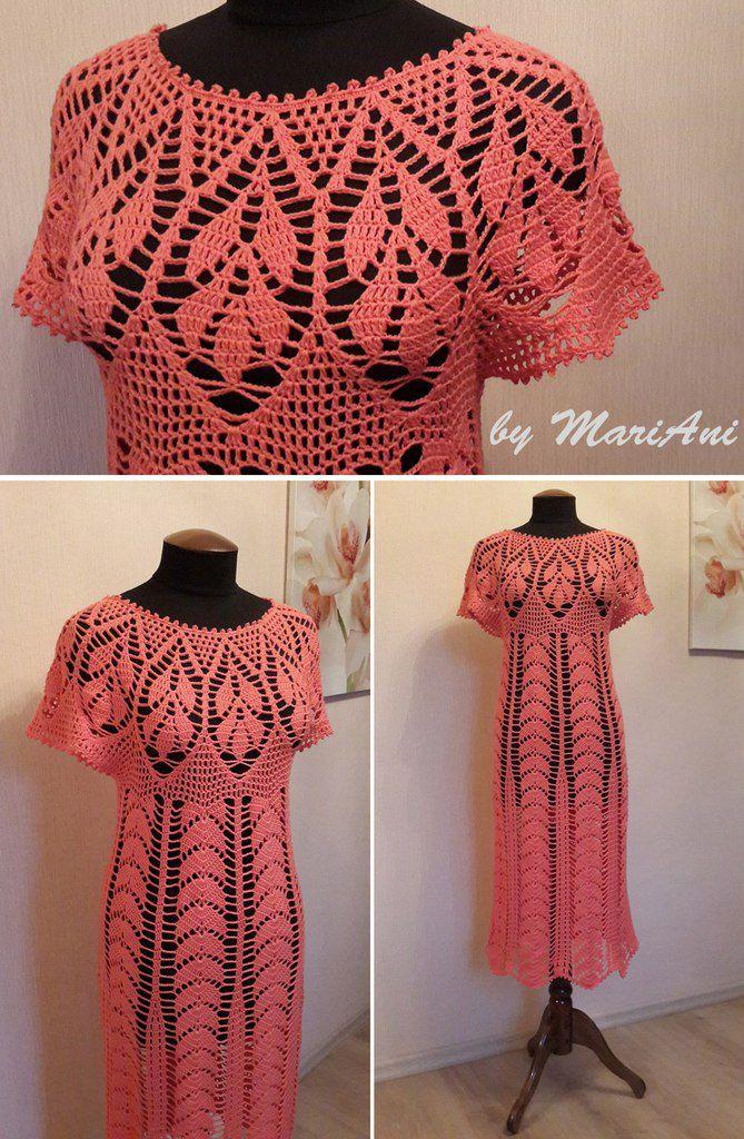 ручнаяработа крючок вязание летнее платье хлопок