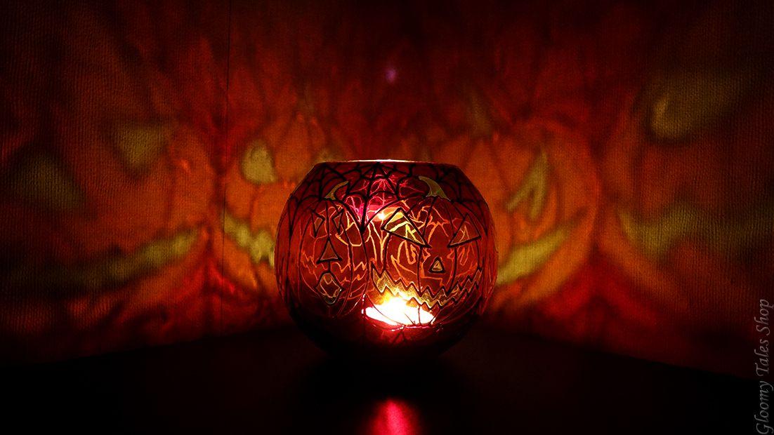 ручнаяработа подарок декор паутина хэллоуин витражныйлак фонарик светильник handmade подсвечник хеллоуин тыквы джек фонарь витраж
