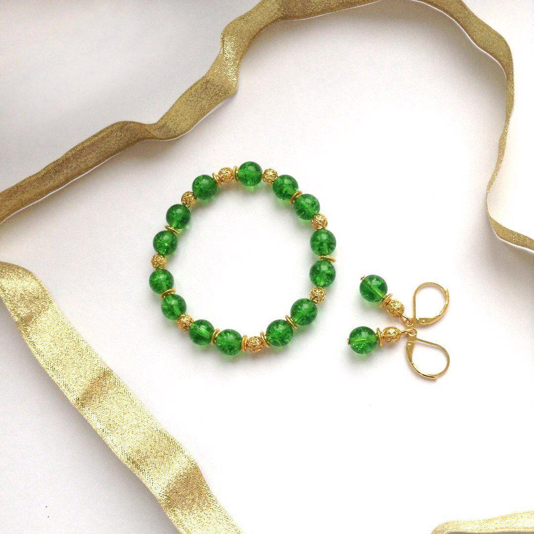 зеленый браслет серьги работа ручная комплект handmade украшения бижутерия