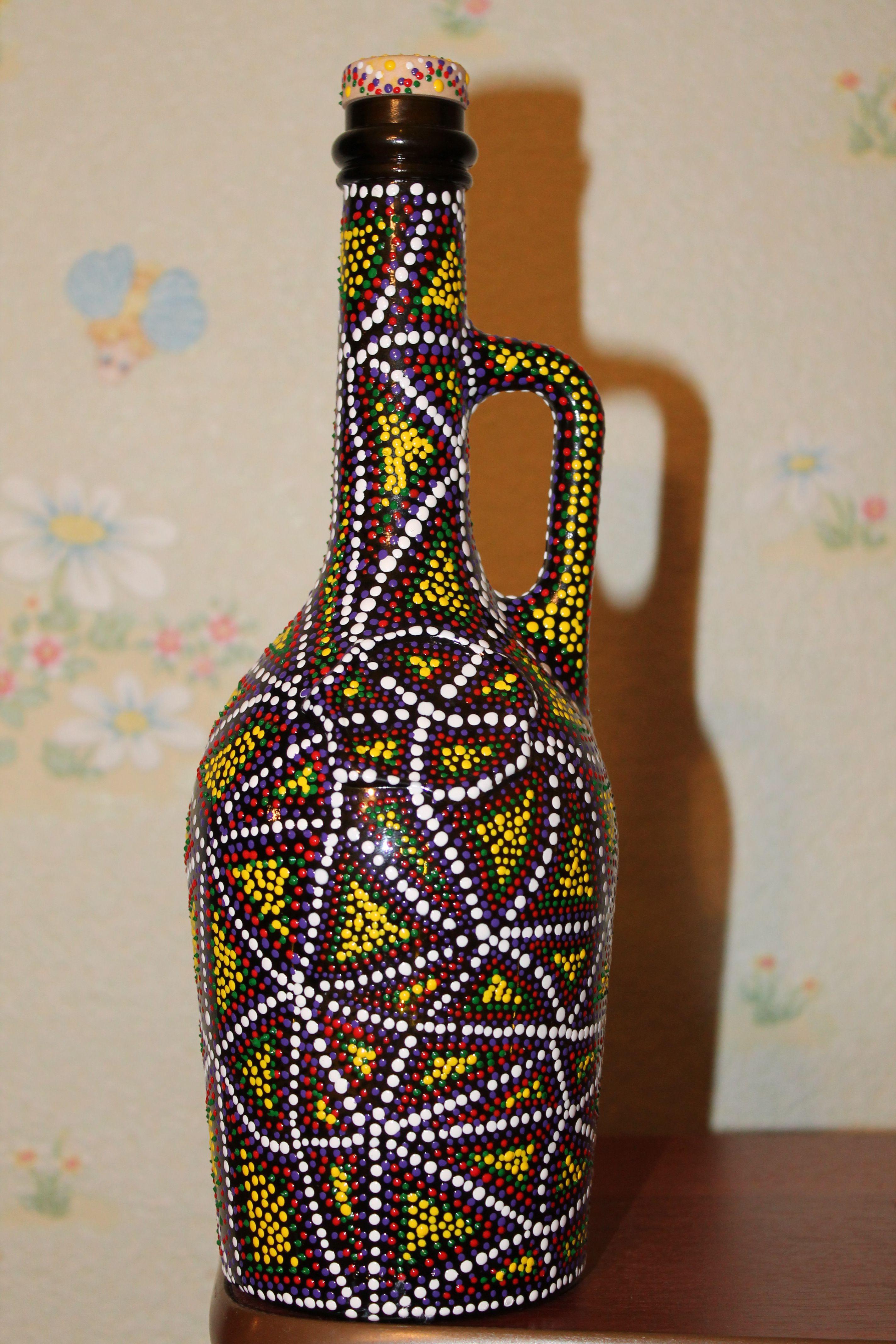 декор точечнаяроспись бутылка предметыинтерьера подаркиручнойработы росписьбутылки коллекционирование декорированнаябутылка