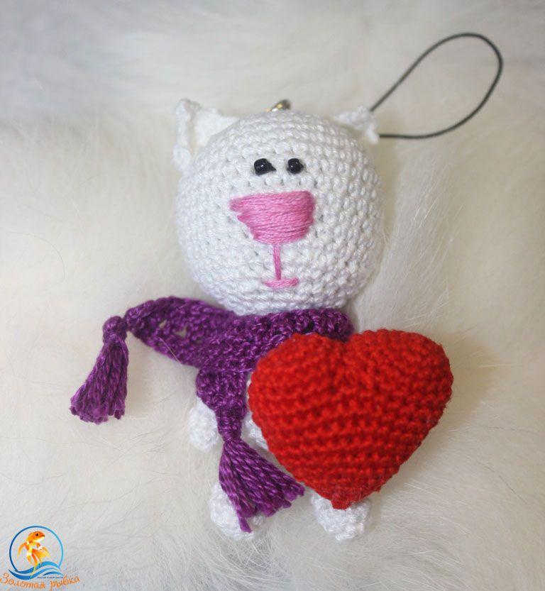 вязанаяигрушка брелок сердце игрушкакот кот подарок