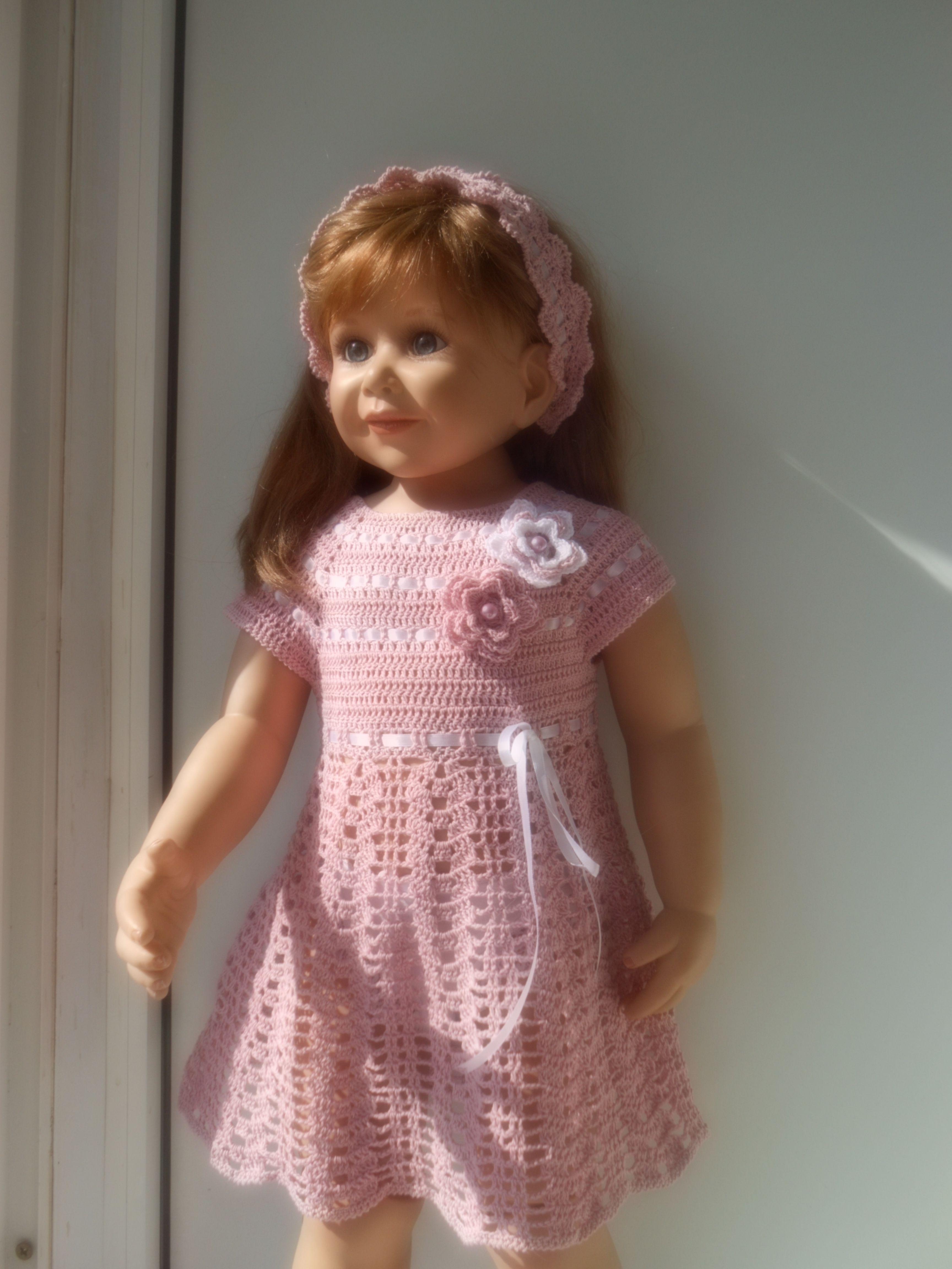 девочке крючком платье летнее повязка связано голову