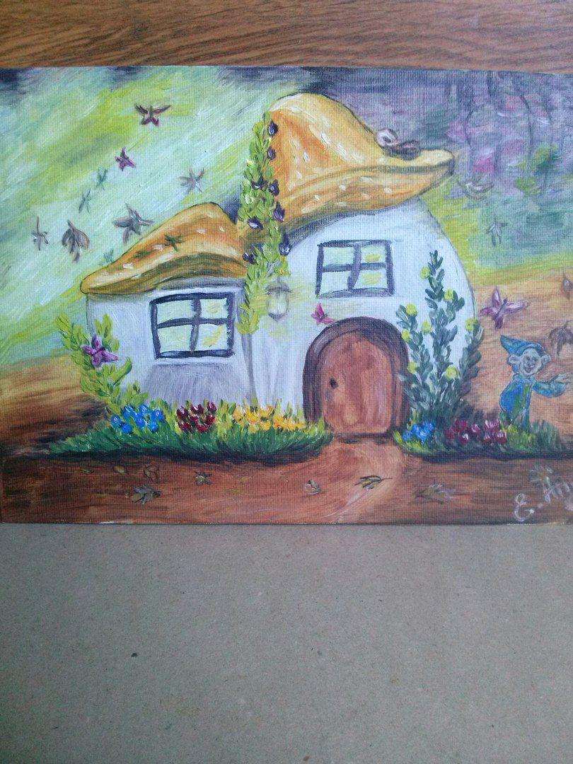 масло фантазия дом холст интерьер картина гриб