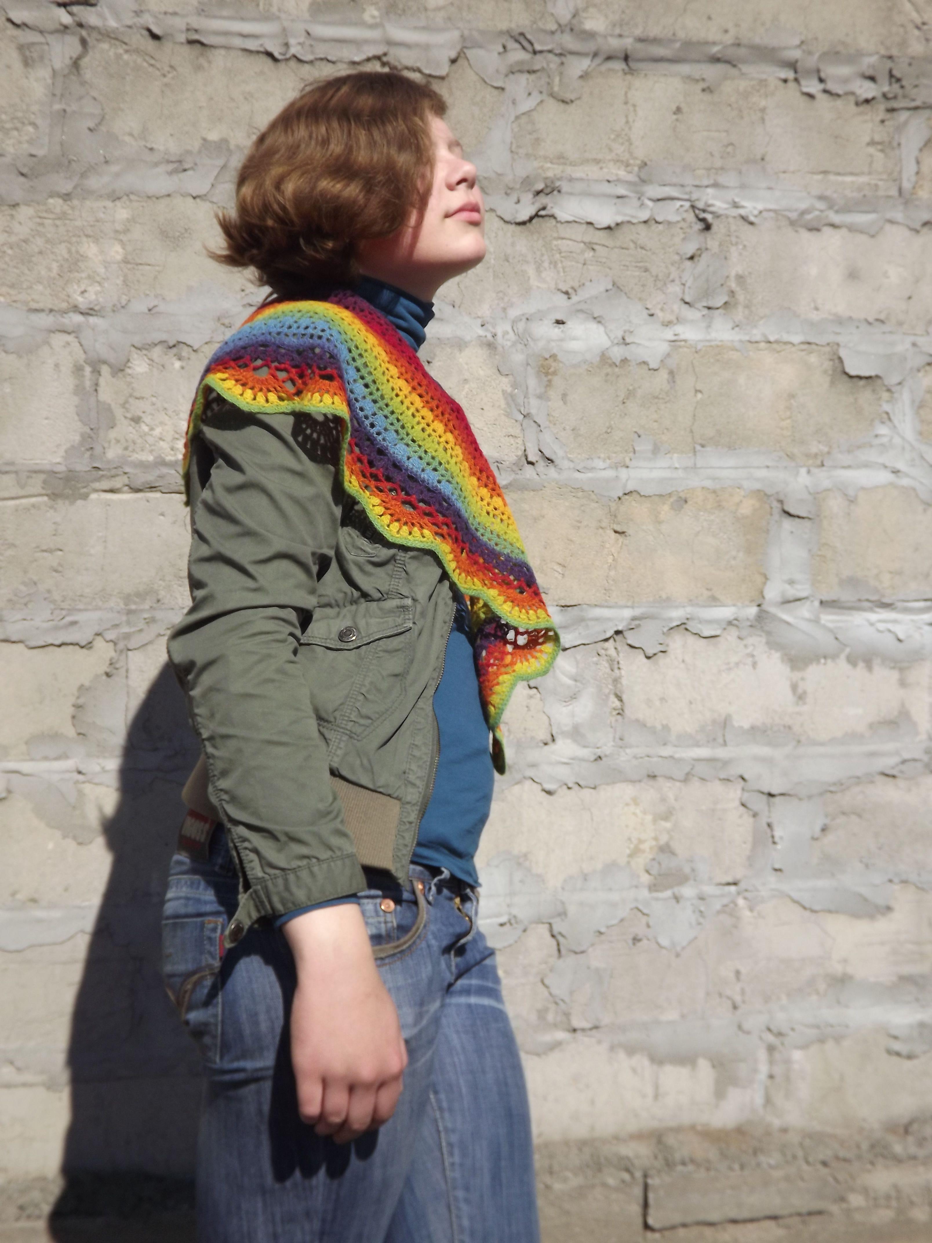 крючком шаль шерсть кауни вязание