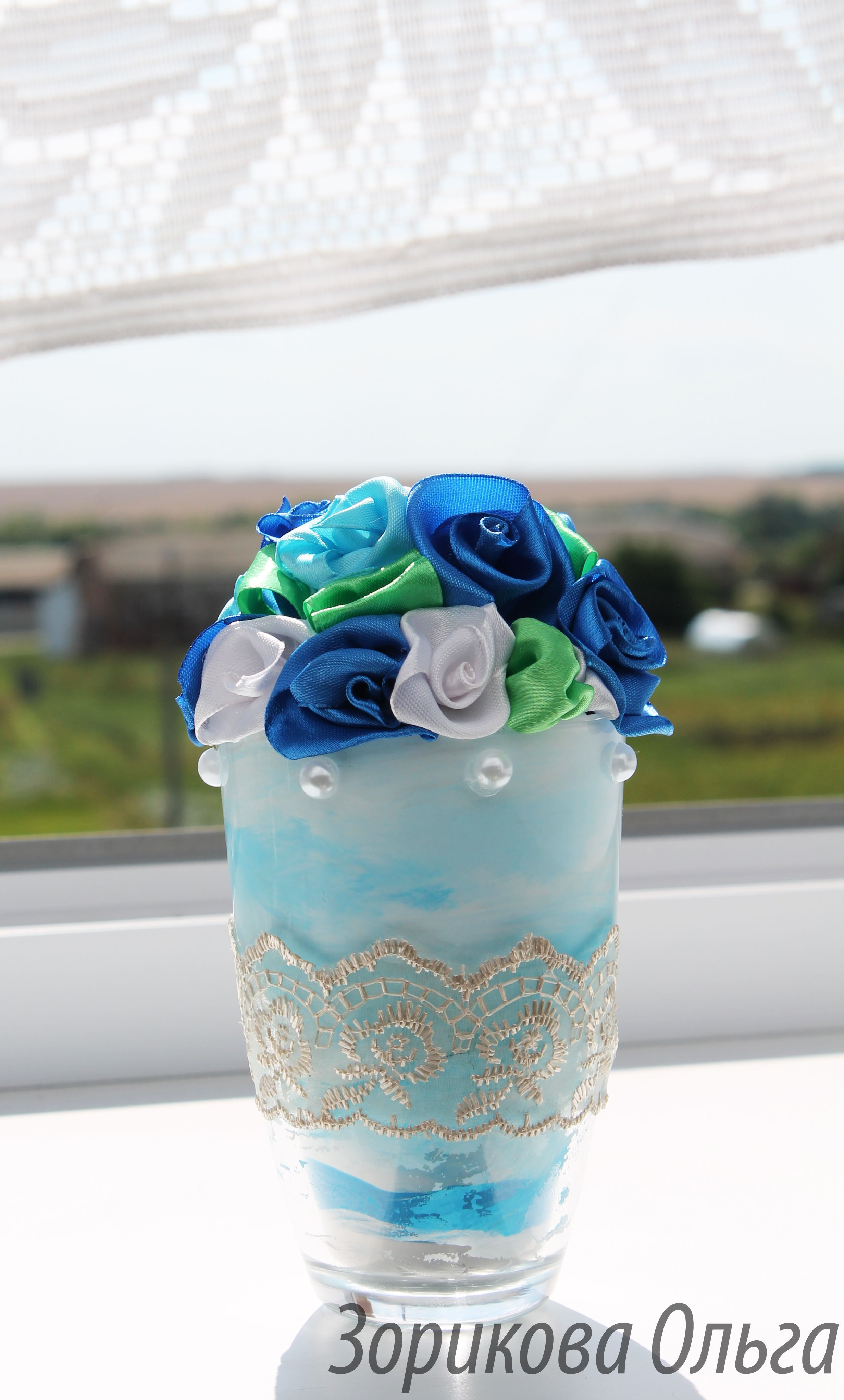 украшение цветы лента