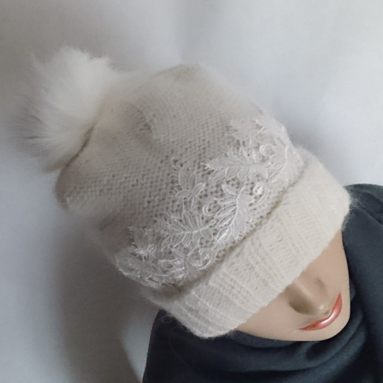спицами шерстяная шапочка вязаная бамбук шапка шерсть ручная работа купить подарок женская