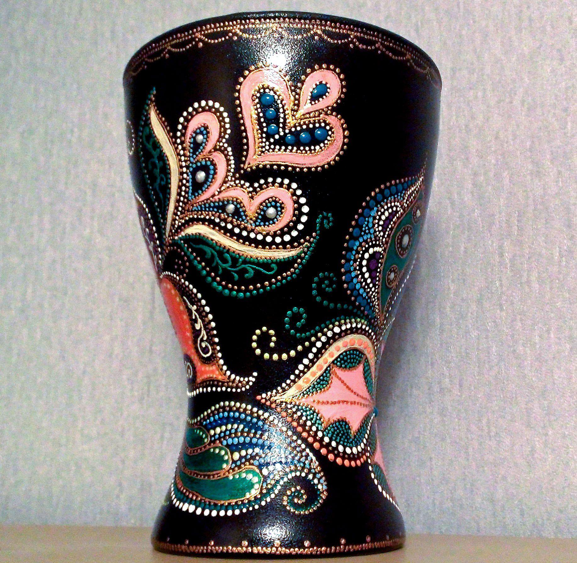 ручнаяработа подарок декор точечнаяроспись восточные ваза handmade узоры декоративнаяваза южнаяфантазия цветы
