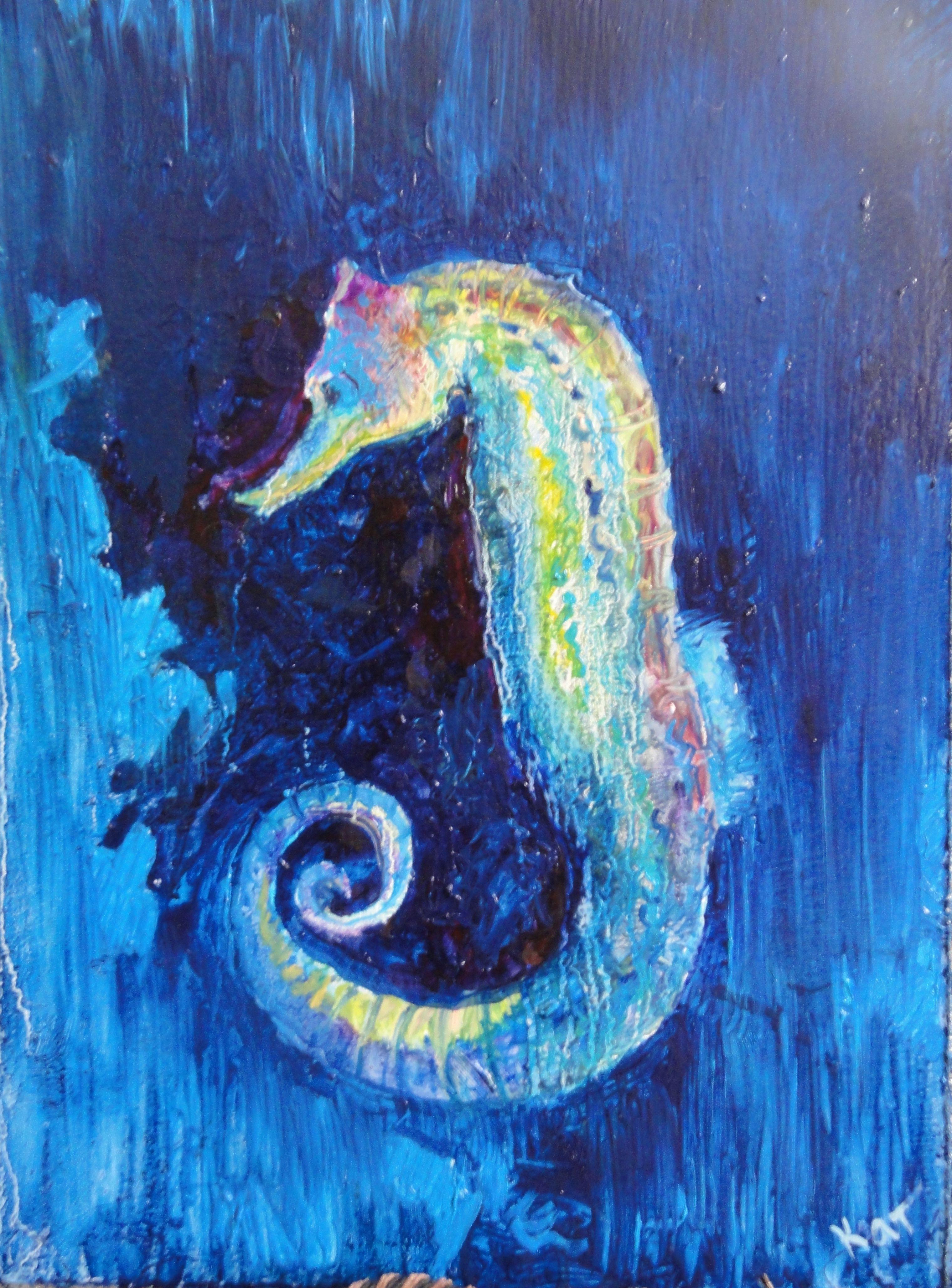 арт картина морскойконек ярко живопись