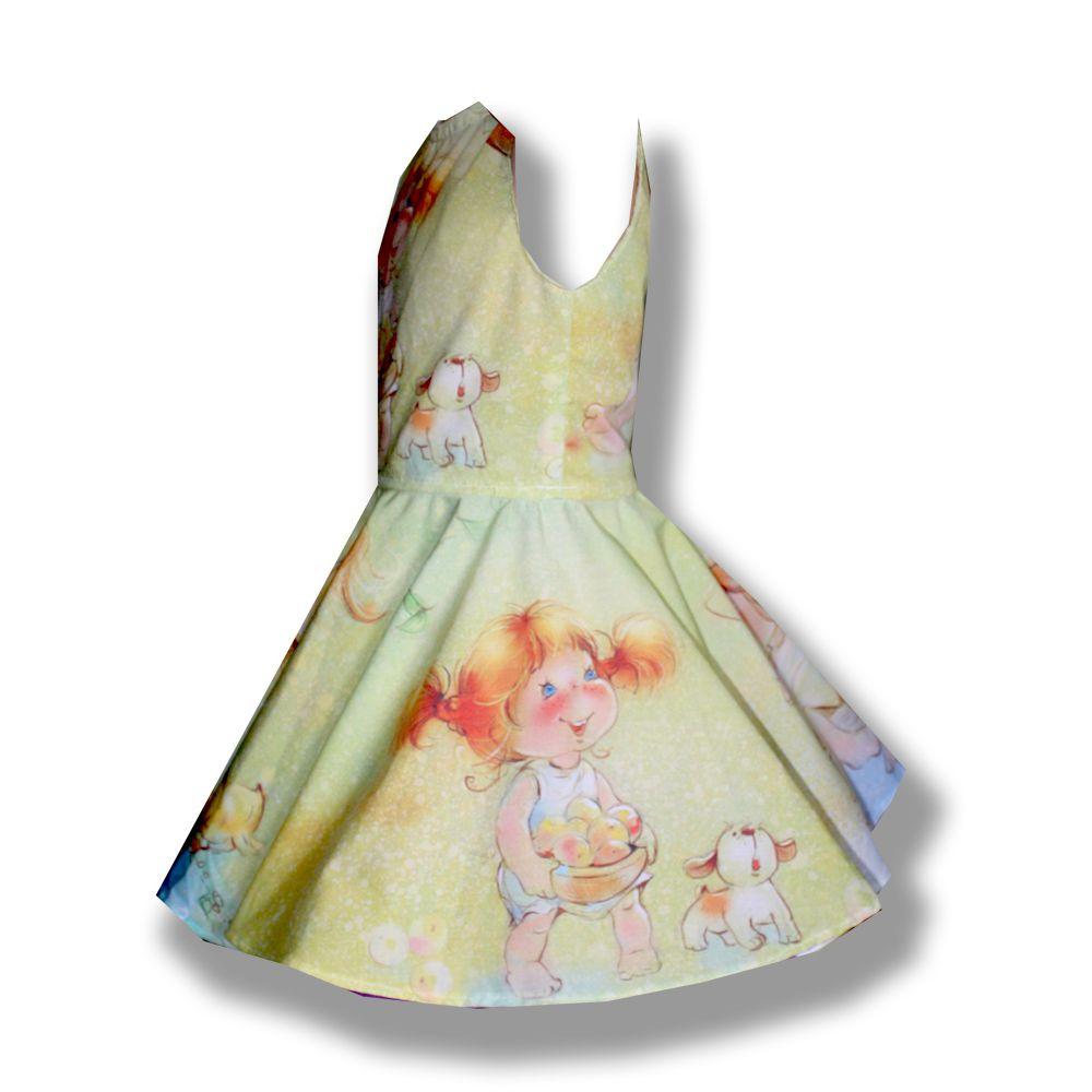 хлопок подарок девочка зеленое платье лето рыжая солнце фотопринт handmade нежное качели  зелёное пышное нарядное принт девочке сублимация