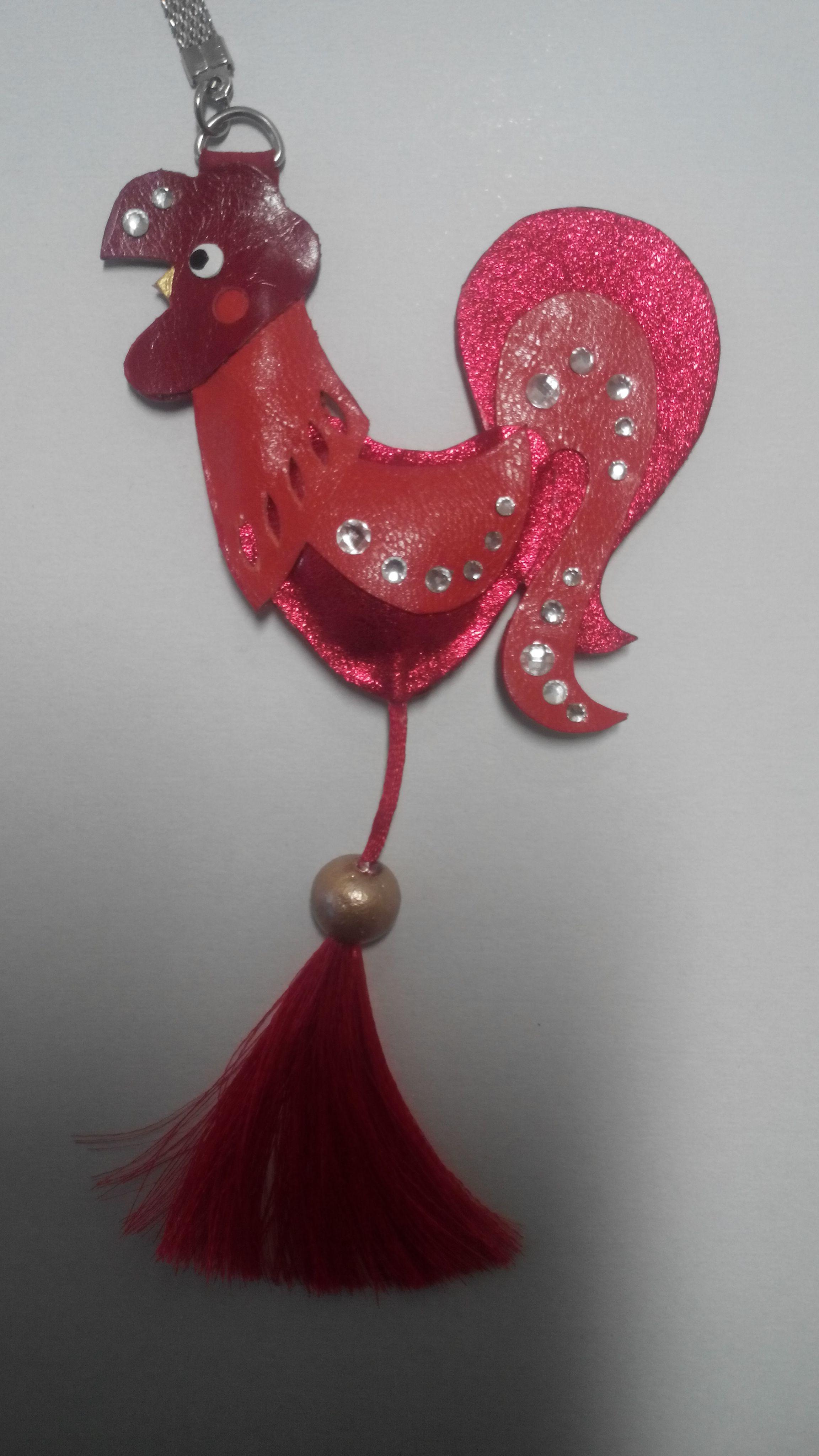 сувенир брелок петух ручная новый год работа подарок кожа