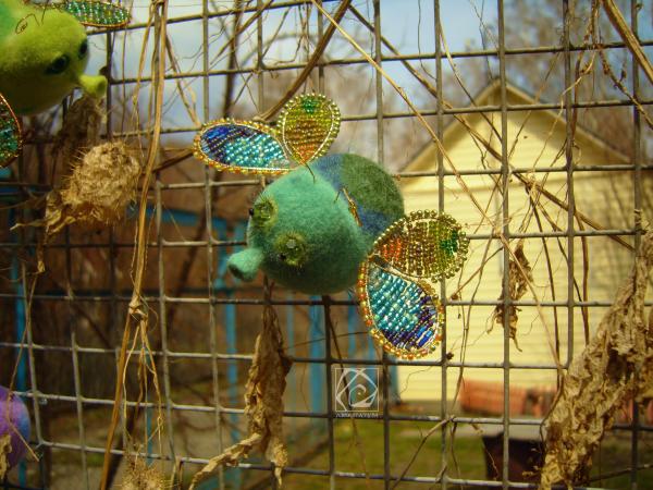 сухоеваляние бирюзовый игрушка бисер насекомое муха крылья подарок валяниеизшерсти