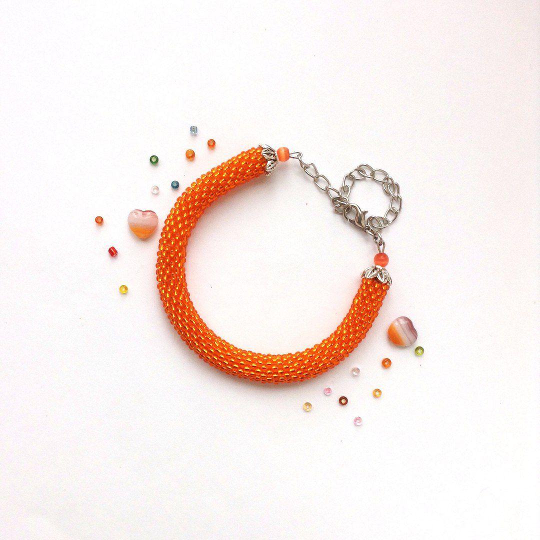 бисер браслет украшение handmade апельсин крючком оранжевый бижутерия