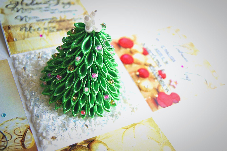 открытка канзаши новыйгод праздник подарок
