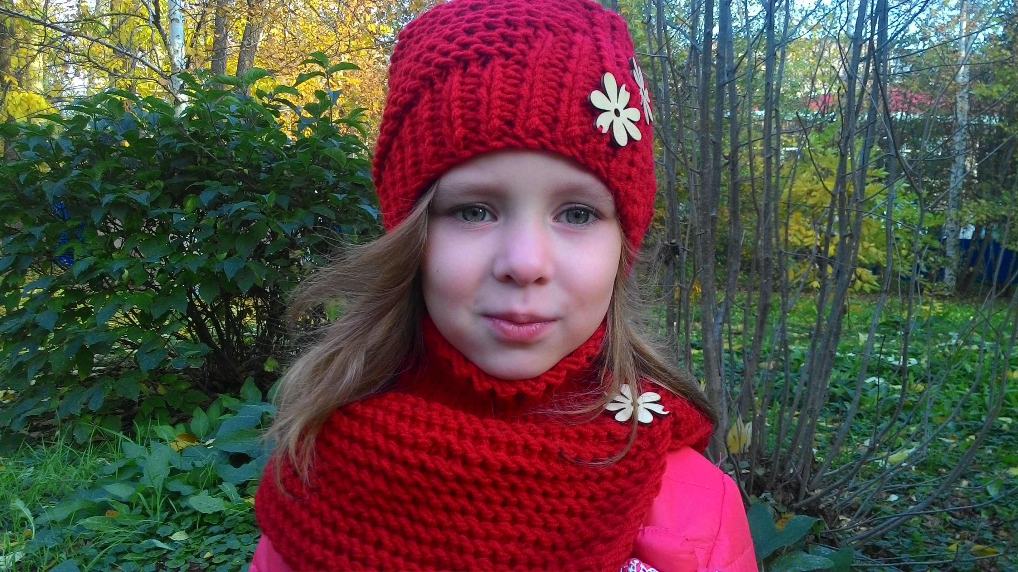 шапки детские со вязание снудом красная с яркая цветком для шапка осенние одежда девочек детская спицами
