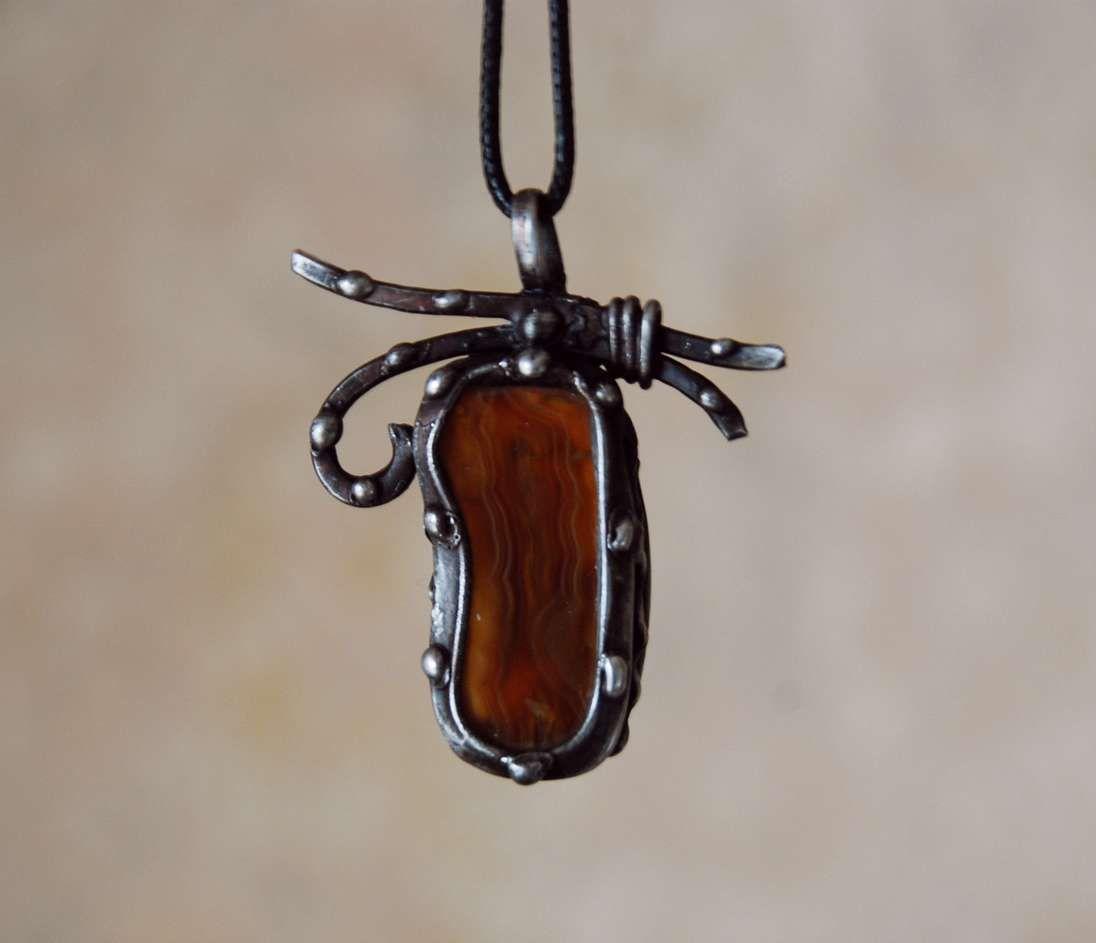 кулон ручная с подвеска камнем полудрагоценные камни тиффани работа витраж подарок