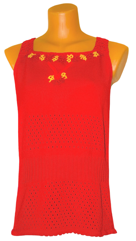 летний ажурный ярко-красный топ однотонный машинное вязаный авторский вязание дизайн фриволите
