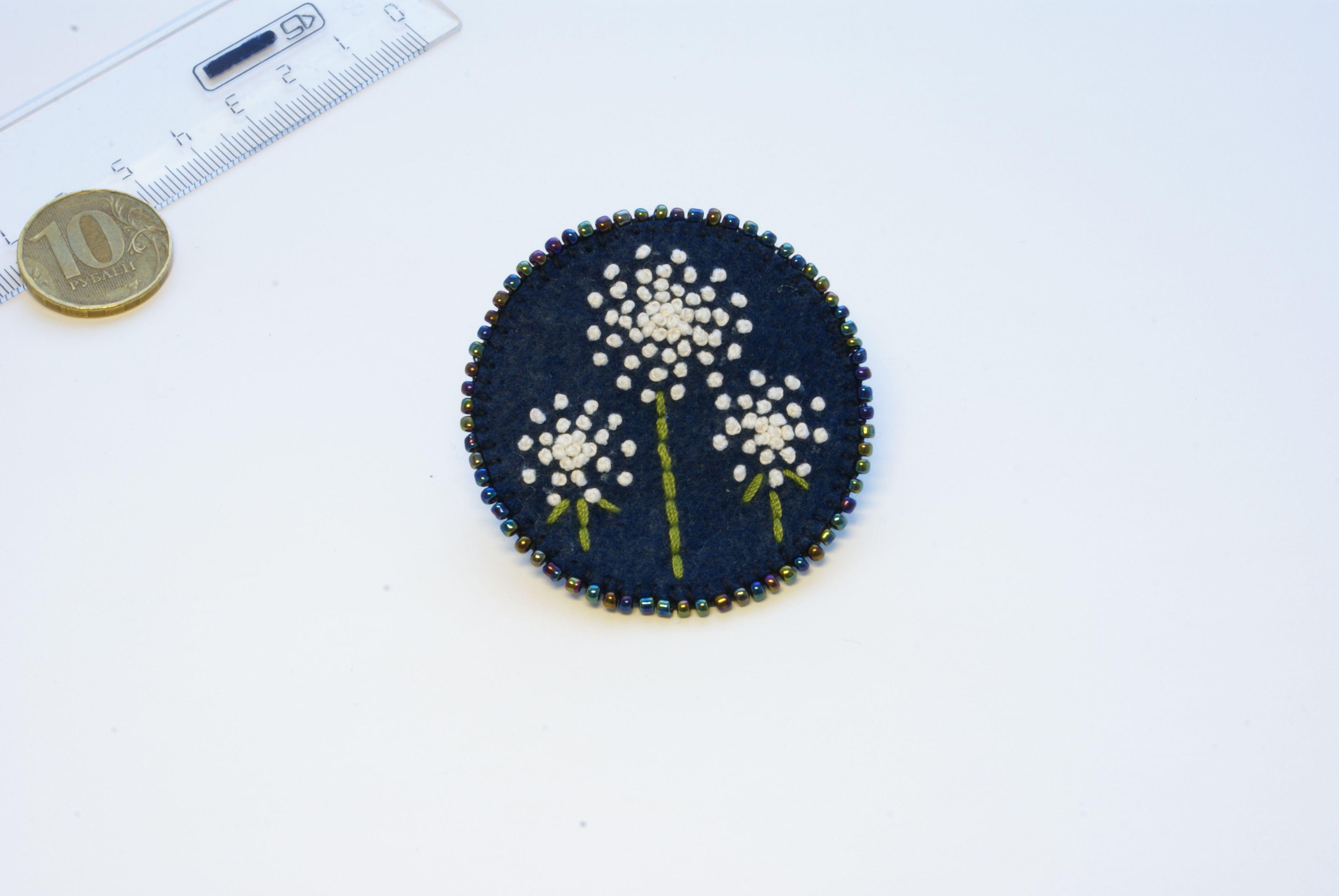 одуванчики брошка брошь украшение ручнаяработа фетр