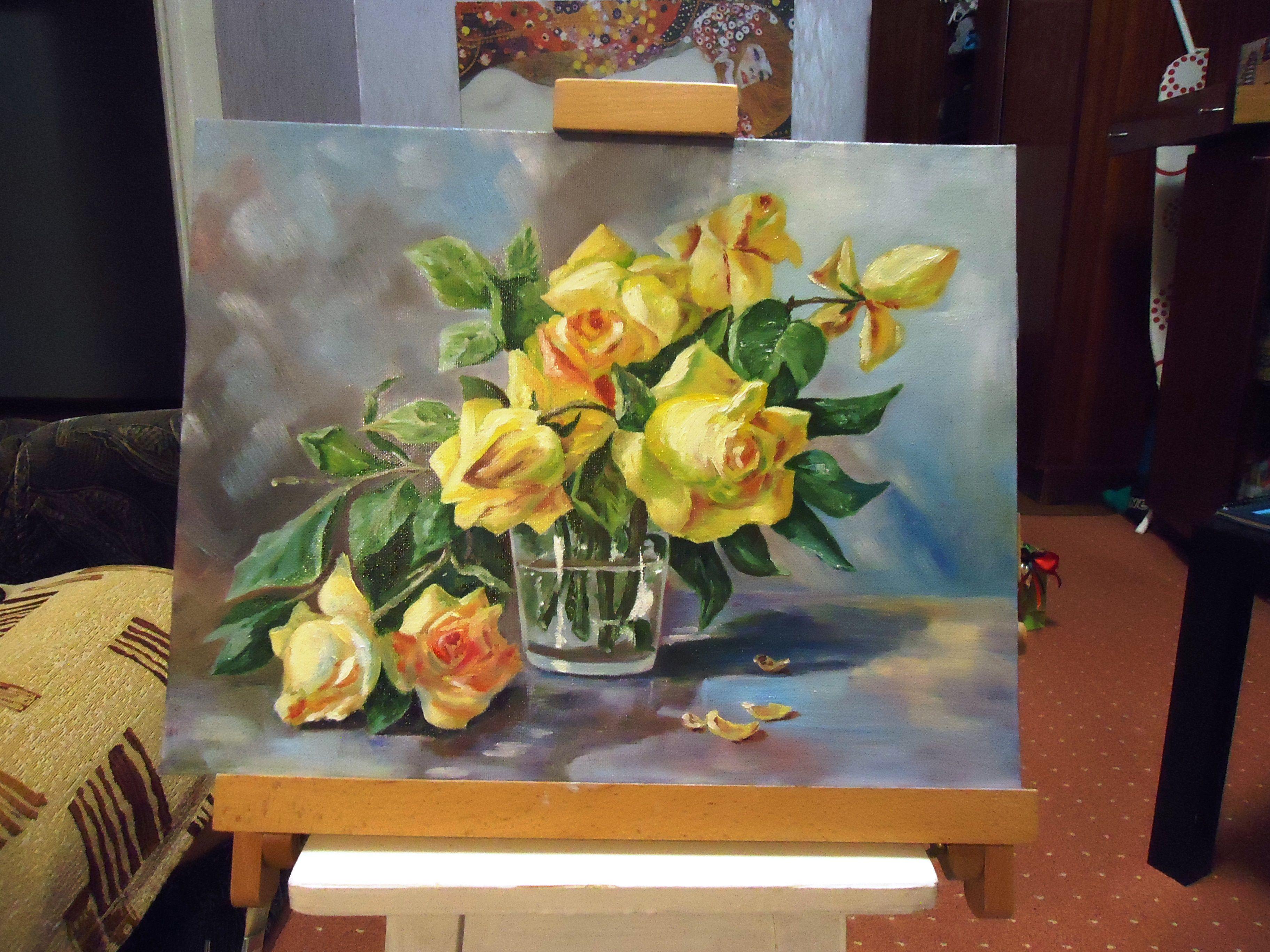живописьмаслом розы холст живопись масло картина подарок