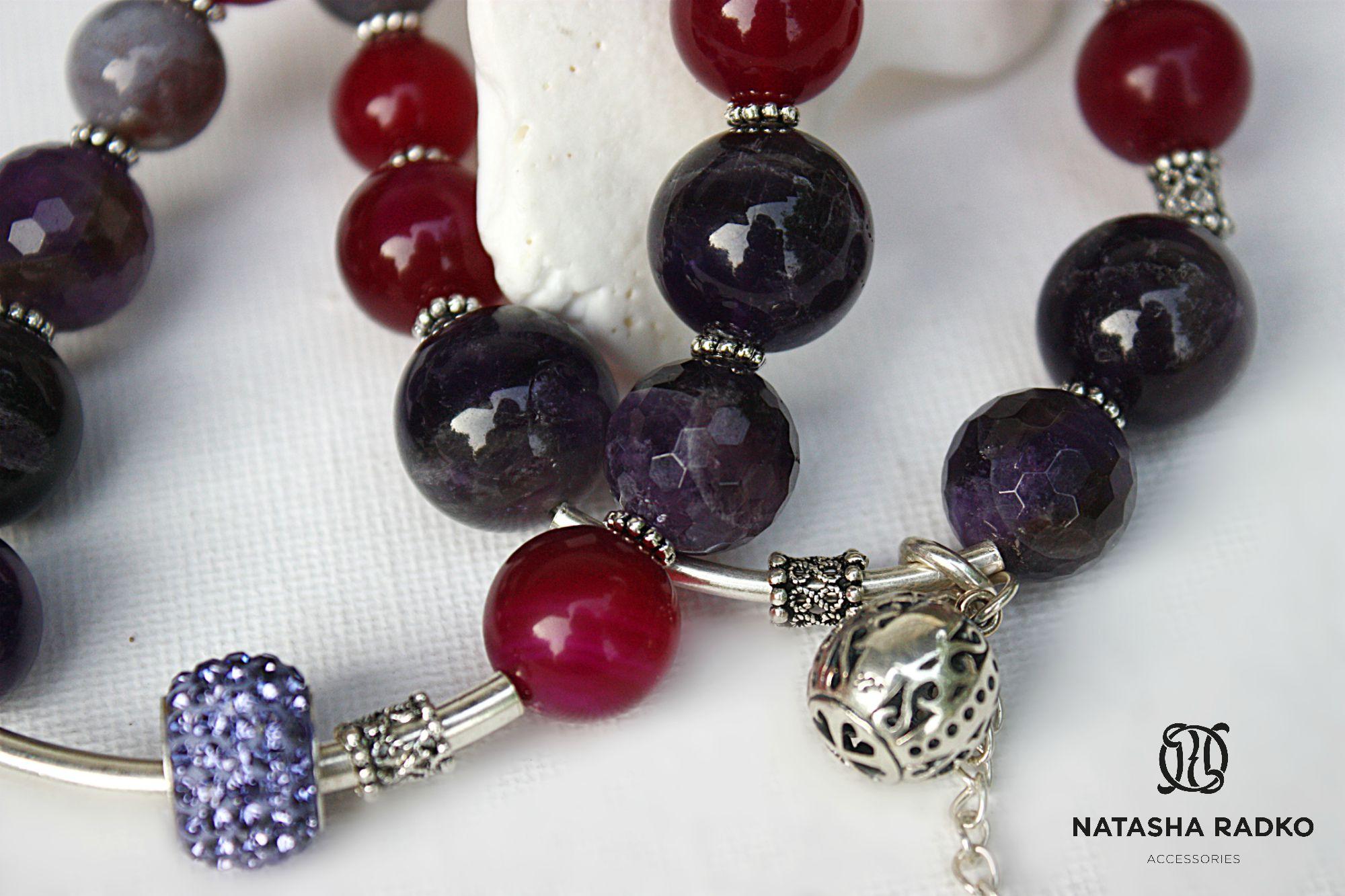 подарок браслет агат аметист украшение серебро камни натуральные