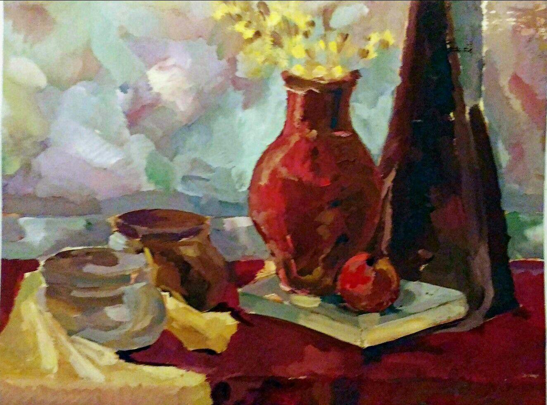 гуашькартины гран молоко картины фрукты кувшин натюрморт крынка