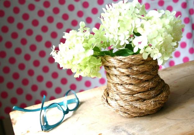 руками из декора для ваза оформления веревка свадебного стола банки своими