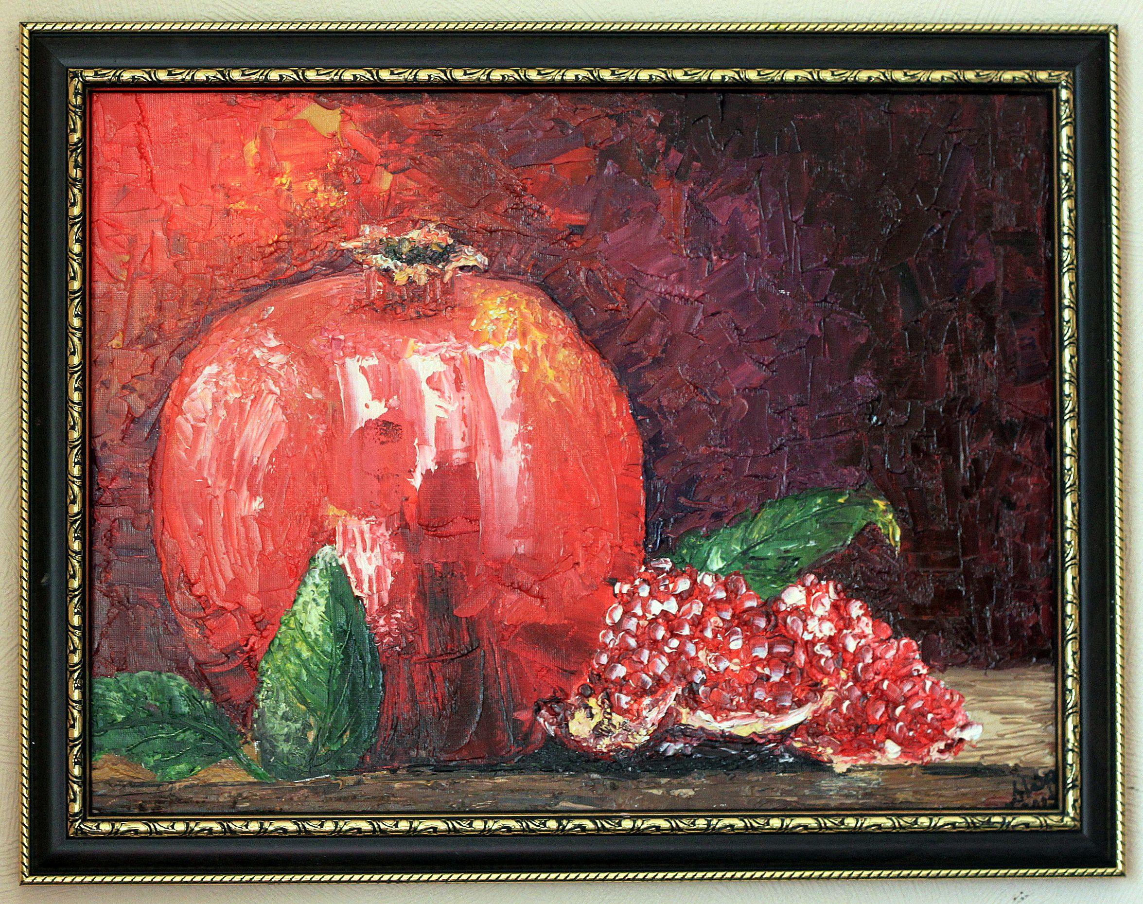 картина масло мастихин гранат фрукты натюрморт