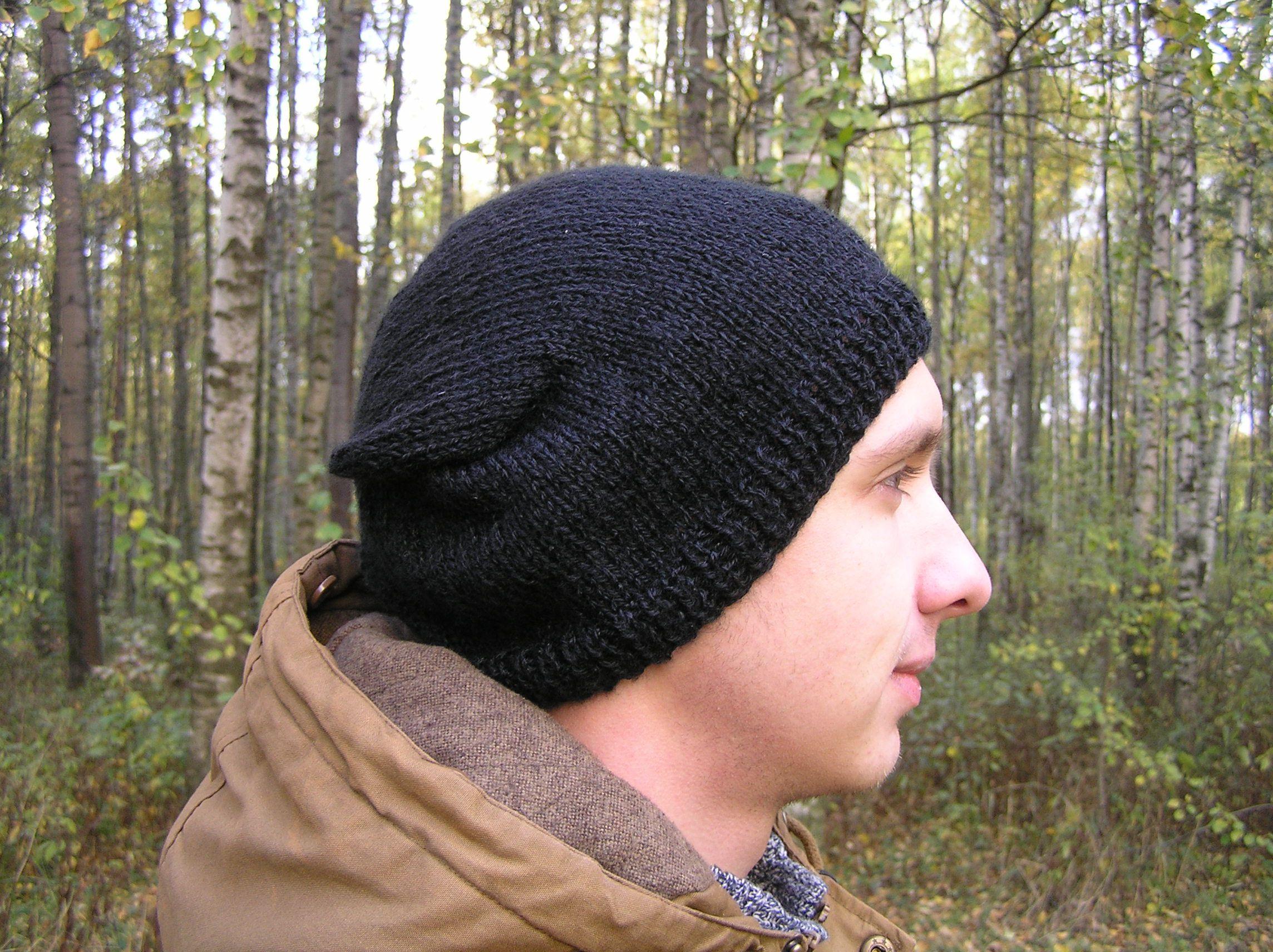 шапказимняя шапкавязаная шапкаосенная ужская шапка черный